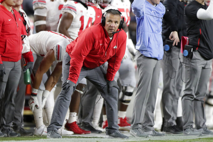 Ohio State head coach Urban Meyer watches from he sideline during the first half of an NCAA college football game against Purdue in West Lafayette, Ind., Saturday, Oct. 20, 2018. (AP Photo/Michael Conroy)