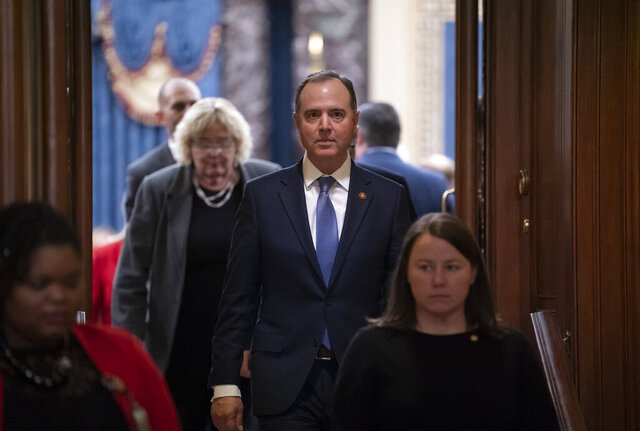 House Democratic impeachment manager, Intelligence Committee Chairman Adam Schiff, D-Calif., leaves the Senate chamber after today's acquittal of President Donald Trump on charges of abuse of power and obstruction of Congress, at the Capitol in Washington, Wednesday, Feb. 5, 2020. (AP Photo/J. Scott Applewhite)