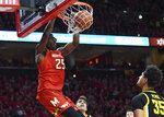 Maryland forward Jalen Smith (25) dunks during the second half against Iowa in an NCAA college basketball game Thursday, Jan. 30, 2020, in College Park, Md. (AP Photo/Terrance Williams)