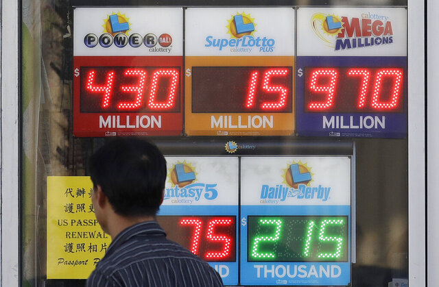 FILE — In this Oct. 18, 2018, file photo, a man walks past a lottery display outside of The Lucky Spot in San Francisco. A report released by the California State Auditor, Tuesday, Feb. 25, 2020, says that the lottery failed to provide adequate funding to education and that it should have accounted for an increase in profits in fiscal year 2017-2018 by turning over an additional $36 million to public schools. Lottery officials say they disagree with the auditor's accounting and said it still maximizes giving to education. (AP Photo/Jeff Chiu, File)