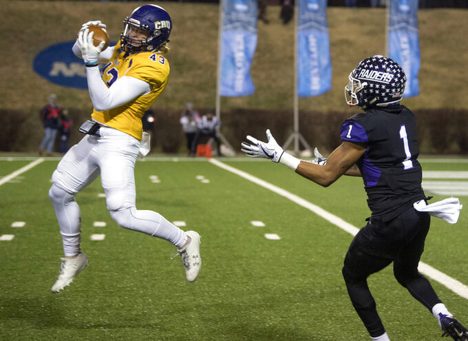 FILE - In this Dec. 15, 2017, file photo, Mary Hardin-Baylor's Jefferson Fritz (43 ) intercepts a pass in front of Mount Union's Justin Hill (1) during the first half of the Amos Alonzo Stagg Bowl Division III NCAA college football championship, in Salem, Va. Fritz was named to The Associated Press Division III All-America Team, Thursday, Dec. 13, 2018. (AP Photo/Lee Luther Jr., File)