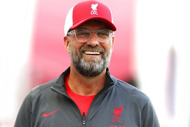Liverpool head coach Juergen Klopp arrives for an interview prior to a friendly soccer match between RB Salzburg and FC Liverpool in Salzburg, Austria, Tuesday, Aug.25, 2020. (AP Photo/Matthias Schrader)