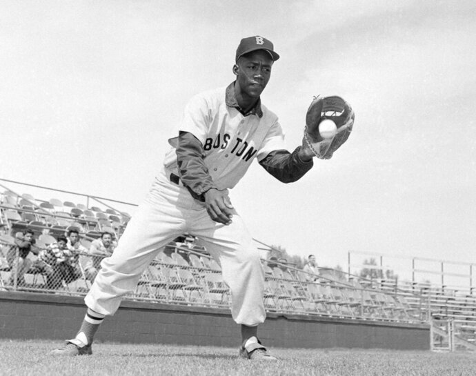 FILE - In this April 1959 file photo, Boston Red Sox's Elijah