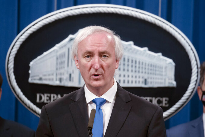"""FILE - In this Sept. 16, 2020 file photo, then Deputy Attorney General Jeffrey Rosen speaks at the Justice Department in Washington. President Donald Trump urged senior Justice Department officials to declare the 2020 election results """"corrupt"""" in a December phone call. That's according to handwritten notes from one of the participants in the conversation. The notes of the Dec. 27 call were released Friday by the Democratic-led House Oversight Committee. (Tasos Katopodis/Pool via AP)"""