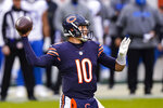 Chicago Bears quarterback Mitchell Trubisky (10) throws against the Detroit Lions in the first half of an NFL football game in Chicago, Sunday, Dec. 6, 2020. (AP Photo/Nam Y. Huh)