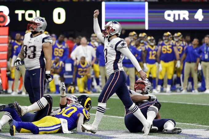 New England Patriots' Stephen Gostkowski (3) gestures after scoring a field goal, during the second half of the NFL Super Bowl 53 football game against the Los Angeles Rams, Sunday, Feb. 3, 2019, in Atlanta. The Patriots defeated the Rams 13-3.(AP Photo/Jeff Roberson)