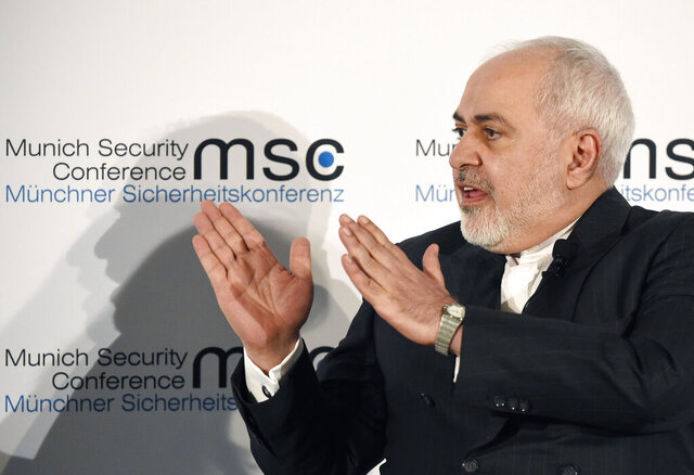 Iranian Foreign Minister Mohammad Javad Zarif speaks on the second day of the Munich Security Conference in Munich, Germany, Saturday, Feb. 15, 2020. (AP Photo/Jens Meyer)