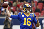 Los Angeles Rams quarterback Jared Goff passes against the Arizona Cardinals during first half of an NFL football game Sunday, Dec. 29, 2019, in Los Angeles. (AP Photo/Marcio Jose Sanchez)