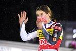 Petra Vlhova of Slovakia celebrates after winning the alpine ski, women's World Cup slalom in Levi, Finland, Saturday, Nov. 21, 2020. (Jussi Nukari/Lehtikuva via AP)