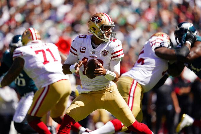 San Francisco 49ers quarterback Jimmy Garoppolo (10) looks to pass during the first half of an NFL football game Sunday, Sept. 19, 2021, in Philadelphia. (AP Photo/Matt Slocum)