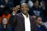 Arkansas head coach Mike Anderson reacts during the second half of a first round NCAA National Invitation Tournament college basketball game against Providence in Providence, R.I., Tuesday, March 19, 2019. (AP Photo/Michael Dwyer)