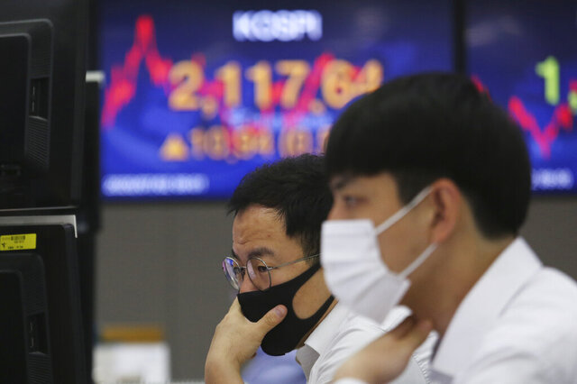 Currency traders watch monitors at the foreign exchange dealing room of the KEB Hana Bank headquarters in Seoul, South Korea, Thursday, July 2, 2020. Asian stock markets followed Wall Street higher Thursday as hopes for development of a coronavirus vaccine competed with concern about rising U.S. infections. (AP Photo/Ahn Young-joon)