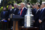President Donald Trump speaks during an event to honor the 2019 Stanley Cup Champions, the St. Louis Blues hockey team in the Rose Garden of the White House, Tuesday, Oct. 15, 2019, in Washington. (AP Photo/Evan Vucci)