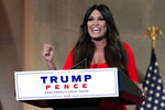 FILE - In this Aug. 24, 2020, file photo Kimberly Guilfoyle speaks as she tapes her speech for the first day of the Republican National Convention from the Andrew W. Mellon Auditorium in Washington. The Republican National Convention last month featured relentless attacks on Democrats, mirroring what's playing out in the state. Despite California's vast wealth