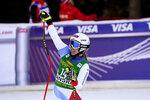 Switzerland's Joana Haehlen celebrates at the finish line during an alpine ski, women's World Cup downhill, in Bansko, Bulgaria, Friday, Jan. 24, 2020. (AP Photo/Giovanni Auletta)
