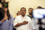 FILE - In this Sept. 18, 2019 file photo, Nicaraguan opposition activist Felix Maradiaga, center, stands at attention as the national anthem is sung during a press conference in Managua, Nicaragua. Nicaragua's National Police has on Tuesday, June 8, 2021, arrested Maradiaga, a potential challenger to President Daniel Ortega, the third opposition pre-candidate for the Nov. 7 elections detained in the past week. (AP Photo/Alfredo Zuniga, File)