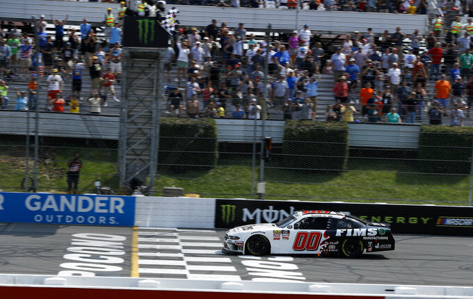 Cole Custer crosses the finish line to win the NASCAR Xfinity Series auto race at Pocono Raceway, Saturday, June 1, 2019, in Long Pond, Pa. (AP Photo/Matt Slocum)