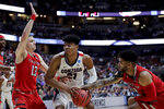 Gonzaga forward Rui Hachimura, middle, is fouled by Texas Tech guard Brandone Francis, right, as guard Matt Mooney defends during the first half of the West Regional final in the NCAA men's college basketball tournament Saturday, March 30, 2019, in Anaheim, Calif. (AP Photo/Jae C. Hong)