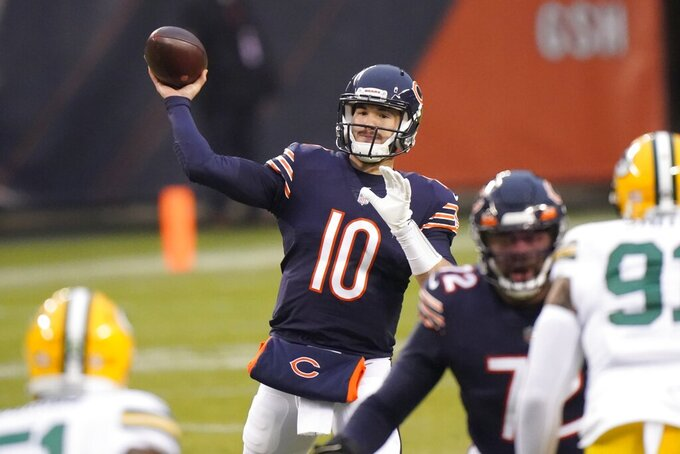 Chicago Bears' Mitchell Trubisky throws a pass during the first half of an NFL football game against the Green Bay Packers Sunday, Jan. 3, 2021, in Chicago. (AP Photo/Nam Y. Huh)
