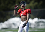 In this Saturday, March 10, 2018 photo, Utah wide receiver Bronson Boyd smiles during spring NCAA college football practice in Salt Lake City. Boyd will get a chance to play for the first time in nearly two years when he takes the field for Utah in the fall. The redshirt freshman sat out in 2017 after joining the Utes following his dismissal from Texas Tech. (Scott Sommerdorf/The Salt Lake Tribune, via AP)