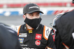 Christopher Bell waits for the start of a NASCAR Cup Series auto race at Charlotte Motor Speedway Thursday, May 28, 2020, in Concord, N.C. (AP Photo/Gerry Broome)