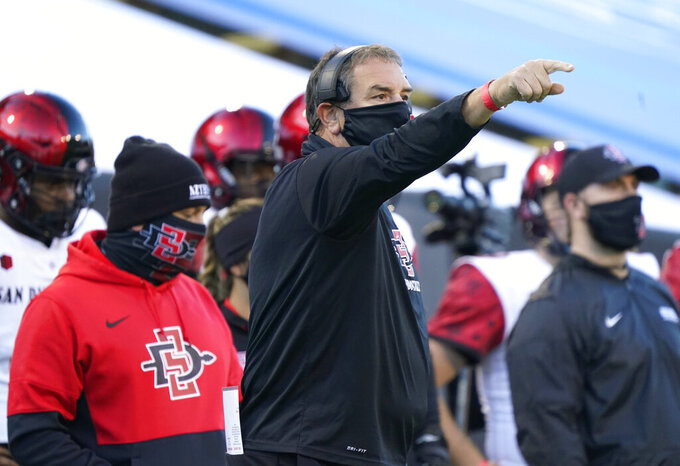 San Diego State coach Brady Hoke gestures during the first half of the team's NCAA college football game against Colorado on Saturday, Nov. 28, 2020, in Boulder, Colo. (AP Photo/David Zalubowski)