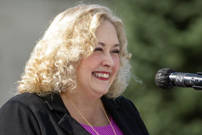 Nebraska state Sen. Carol Blood of Bellevue, a Democrat, speaks during her gubernatorial election campaign announcement, Monday, Sept. 13, 2021, in Lincoln, Neb. (Justin Wan/Lincoln Journal Star via AP)