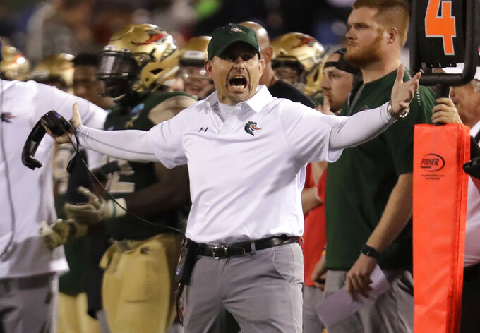 UAB head coach Bill Clark reacts during the second half of the Boca Raton Bowl NCAA college football game against Northern Illinois, Tuesday, Dec. 18, 2018, in Boca Raton, Fla. UAB won 37-13. (AP Photo/Lynne Sladky)