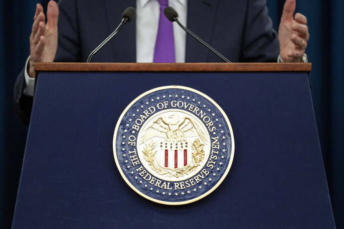 FILE- In this Jan. 30, 2019, Federal Reserve Chairman Jerome Powell speaks at a news conference in Washington. The Fed has made clear that with a dimmer economic picture in both the United States and globally, it no longer sees the need to keep raising rates as it did four times in 2018. (AP Photo/Alex Brandon, File)