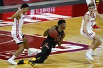 Maryland's Hakim Hart loses his footing during the second half of an NCAA college basketball game against Wisconsin Monday, Dec. 28, 2020, in Madison, Wis. (AP Photo/Morry Gash)