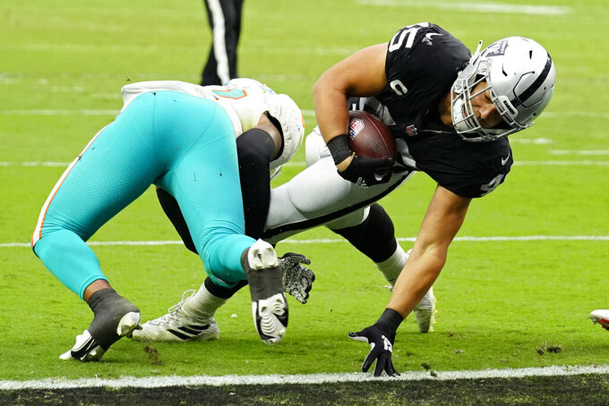 Las Vegas Raiders fullback Alec Ingold (45) scores a touchdown against Miami Dolphins middle linebacker Elandon Roberts (52) during the first half of an NFL football game, Sunday, Sept. 26, 2021, in Las Vegas. (AP Photo/Rick Scuteri)