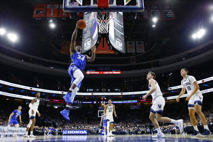Creighton's Denzel Mahoney goes up for a shot during the first half of an NCAA college basketball game against Villanova, Saturday, Feb. 1, 2020, in Philadelphia. (AP Photo/Matt Slocum)
