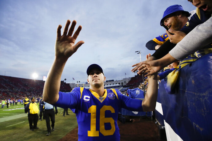 Los Angeles Rams quarterback Jared Goff greets fans after their win against the Arizona Cardinals during second half of an NFL football game Sunday, Dec. 29, 2019, in Los Angeles. (AP Photo/Marcio Jose Sanchez)