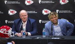 Kansas City Chiefs head coach Andy Reid, left, listens as safety Tyrann Mathieu speaks during an NFL football news conference Thursday, March 14, 2019, at the team's practice facility in Kansas City, Mo. (Tammy Ljungblad/The Kansas City Star via AP)