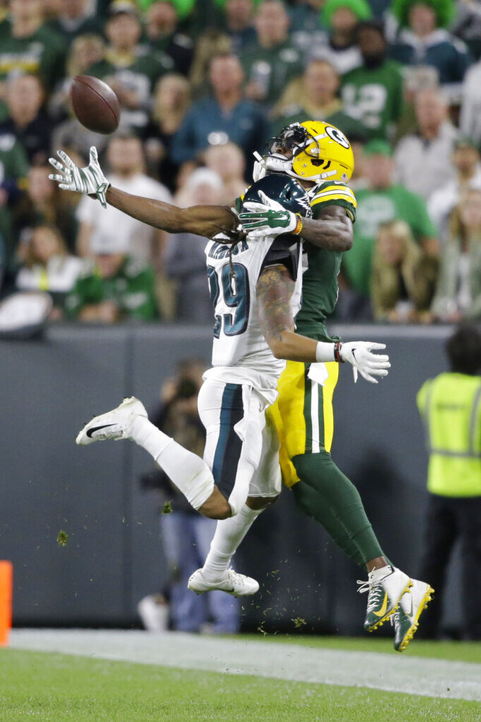 Philadelphia Eagles cornerback Avonte Maddox breaks up a pass intended for Green Bay Packers wide receiver Marquez Valdes-Scantling during the second half of an NFL football game Thursday, Sept. 26, 2019, in Green Bay, Wis. (AP Photo/Jeffrey Phelps)