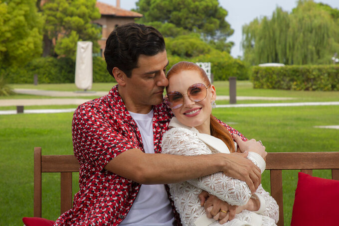 Oscar Isaac, left, and Jessica Chastain pose for portraits for the film 'Scenes from a Marriage' during the 78th edition of the Venice Film Festival in Venice, Italy, Saturday, Sep, 4, 2021. (Photo by Joel C Ryan/Invision/AP)