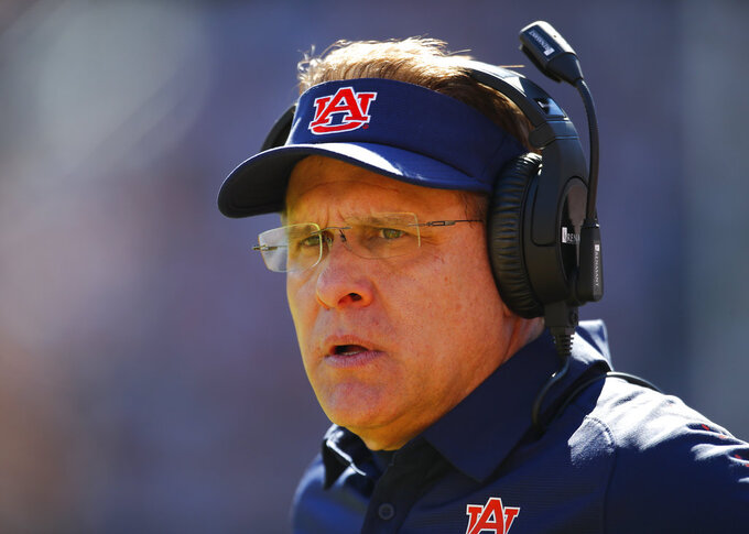 Auburn head coach Gus Malzahn watches on against Texas A&M during the second half of an NCAA college football game, Saturday, Nov. 3, 2018, in Auburn, Ala. (AP Photo/Todd Kirkland)