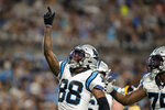 Carolina Panthers wide receiver Terrace Marshall Jr. celebrates after scoring against the Pittsburgh Steelers during the first half of a preseason NFL football game Friday, Aug. 27, 2021, in Charlotte, N.C. (AP Photo/Nell Redmond)