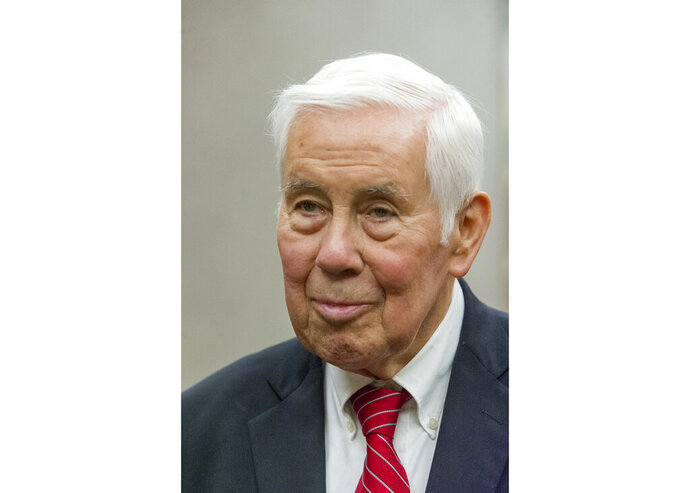 FILE - In a March 23, 2016 file photo, former U.S. Sen. Richard Lugar talks with reporters before going to Carter Hall for the