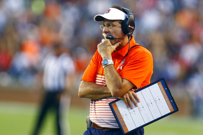 Auburn head coach Gus Malzahn watches from the sideline during the first half of an NCAA college football game against Kent State, Saturday, Sept. 14, 2019, in Auburn, Ala. (AP Photo/Butch Dill)