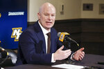 John Hynes answers questions during a news conference where he was introduced as the Nashville Predators' new NHL hockey team head coach Tuesday, Jan. 7, 2020, in Nashville, Tenn. (AP Photo/Mark Humphrey)