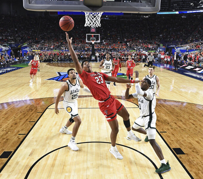 Texas Tech's Jarrett Culver (23) takes a shot during the first half in the semifinals of the Final Four NCAA college basketball tournament against the Michigan State, Saturday, April 6, 2019, in Minneapolis. (Brett Wilhelm/NCAA Photos via Getty Images via AP, Pool)