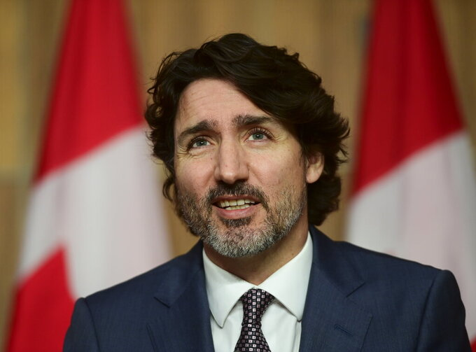 Prime Minister Justin Trudeau holds a news conference in Ottawa on Tuesday, May 18, 2021. (Sean Kilpatrick/The Canadian Press via AP)