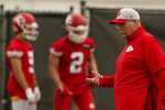 Kansas City Chiefs head coach Andy Reid watches practice during the NFL football team's organized team activities Thursday, May 27, 2021, in Kansas City, Mo. (AP Photo/Charlie Riedel)