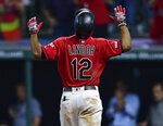 Cleveland Indians' Francisco Lindor celebrates after hitting a solo home run off Detroit Tigers' Joe Jimenez during the eighth inning of a baseball game Wednesday, July 17, 2019, in Cleveland. The Indians won 7-2. (AP Photo/David Dermer)