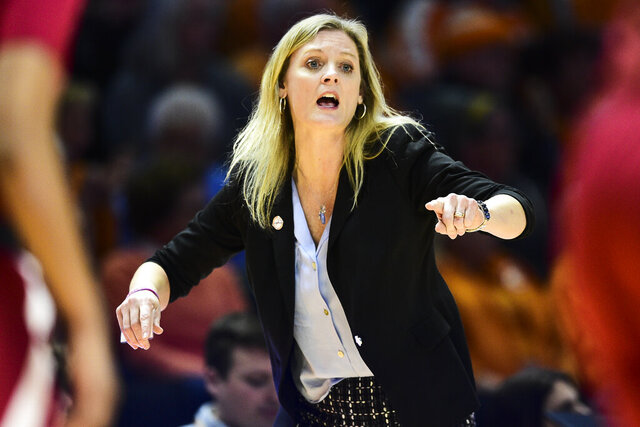 FILE - Tennessee coach Kellie Harper is shown during an NCAA college basketball game against Alabama at Thompson-Boling Arena in Knoxville, Tenn. , in this Monday, Jan. 20, 2020, file photo. No. 25 Tennessee (9-2) will host No. 3 UConn (8-0) for the first time in 15 years Thursday night, Jan. 21, 2021, in the second game of the Naismith Memorial Basketball Hall of Fame Revival Series. (Calvin Mattheis/Knoxville News Sentinel via AP, File)