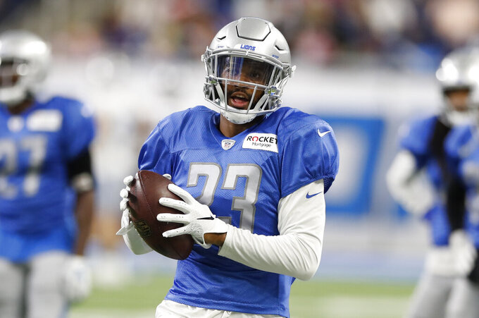 Detroit Lions cornerback Darius Slay runs a drill at an open practice at Ford Field, Friday, Aug. 2, 2019, in Detroit. (AP Photo/Carlos Osorio)