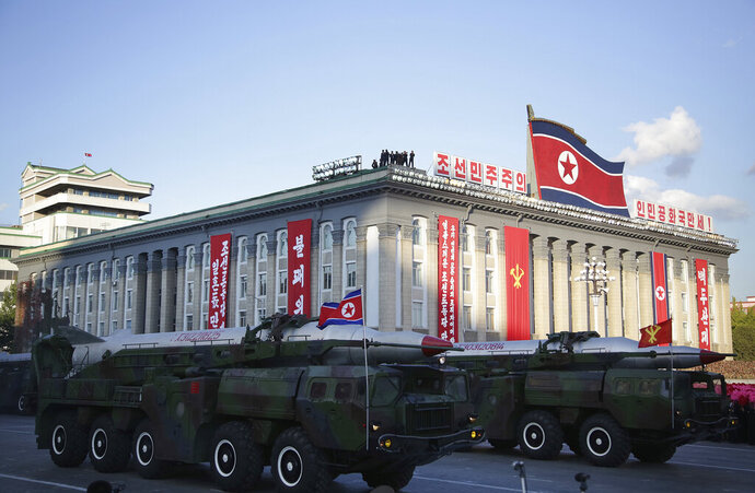 FILE - In this Oct. 10, 2015, file photo, warheads are paraded during a military parade during celebrations to mark the 70th anniversary of North Korea's Workers' Party in Pyongyang, North Korea. For months, North Korea has been relatively uncombative, as leader Kim Jong Un grapples with the coronavirus pandemic, a string of natural disasters and the deepening economic pain from years of tough U.S.-led sanctions. (AP Photo/Wong Maye-E, File)