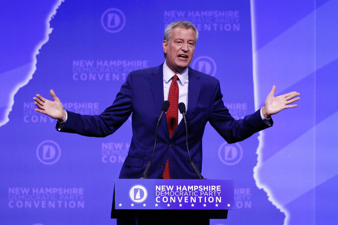 Democratic presidential candidate New York Mayor Bill de Blasio speaks during the New Hampshire state Democratic Party convention, Saturday, Sept. 7, 2019, in Manchester, NH. (AP Photo/Robert F. Bukaty)