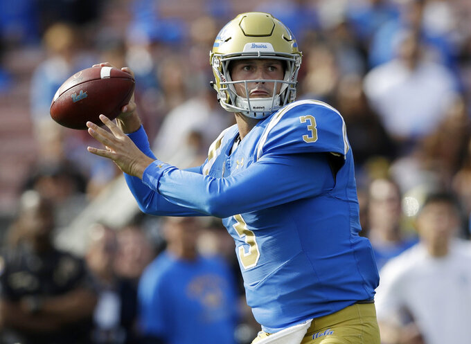 UCLA quarterback Wilton Speight throws against the Southern California during the first half of an NCAA college football game Saturday, Nov. 17, 2018, in Pasadena, Calif. (AP Photo/Marcio Jose Sanchez)